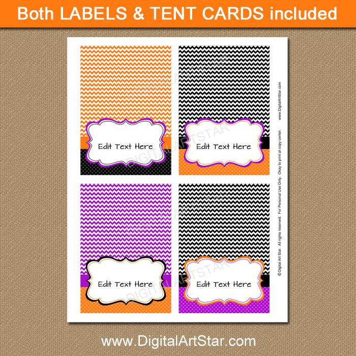 Halloween table tents instant download