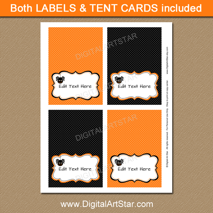 spider buffet cards for Halloween party