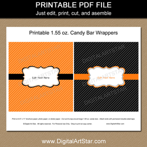 Orange and Black Candy Bar Wrappers