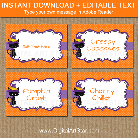 halloween candy buffet labels with black cat