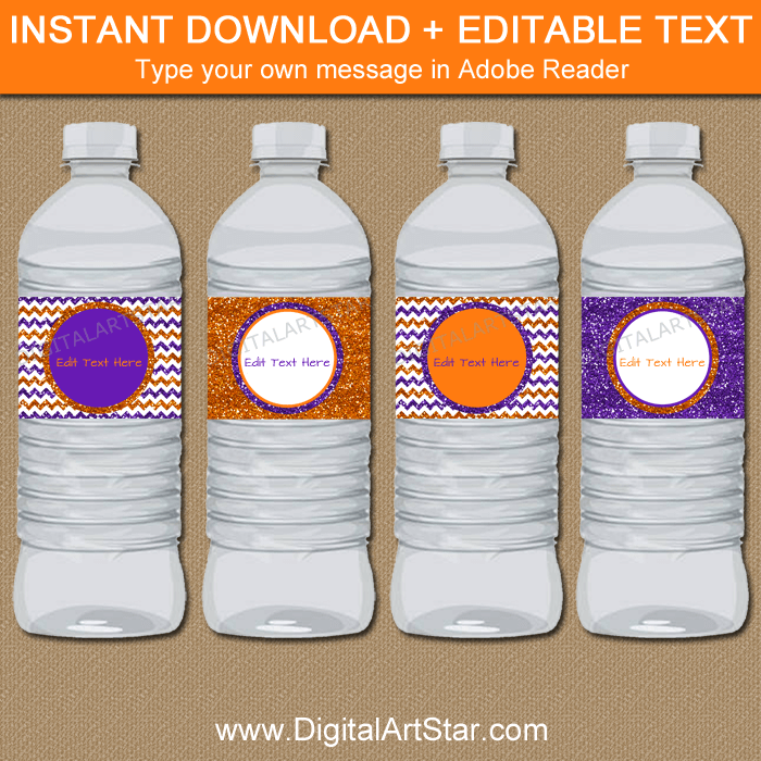 Glitter Halloween Water Bottle Labels Orange and Purple Chevron
