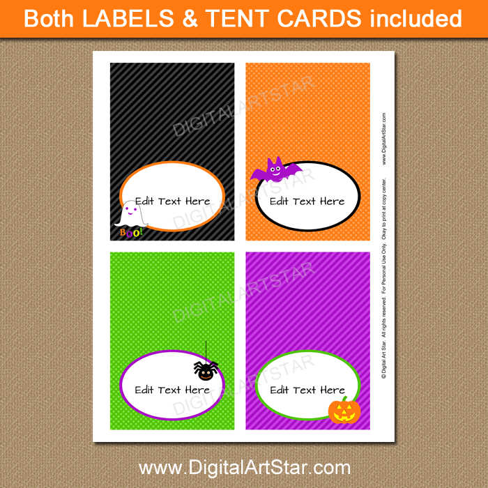 Halloween food labels instant download