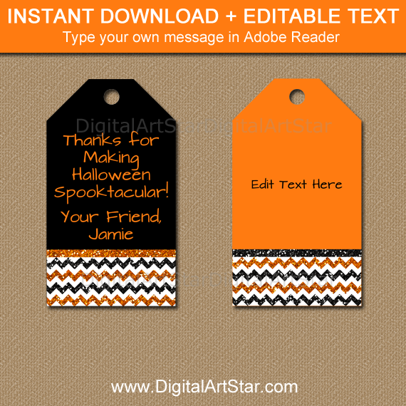 ... Halloween Gift Tags Orange Black Glitter Chevron ...  sc 1 st  Digital Art Star & Halloween Gift Tags - Orange and Black Glitter Chevron | Digital Art ...
