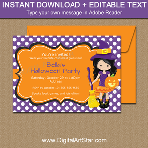 Halloween Girl Birthday Party Invitations with Witch