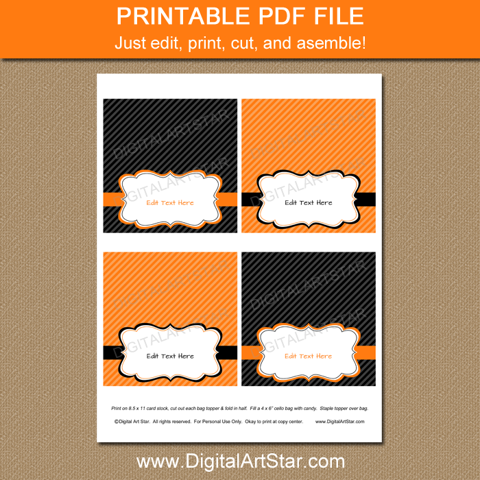 Printable Orange and Black Bag Toppers