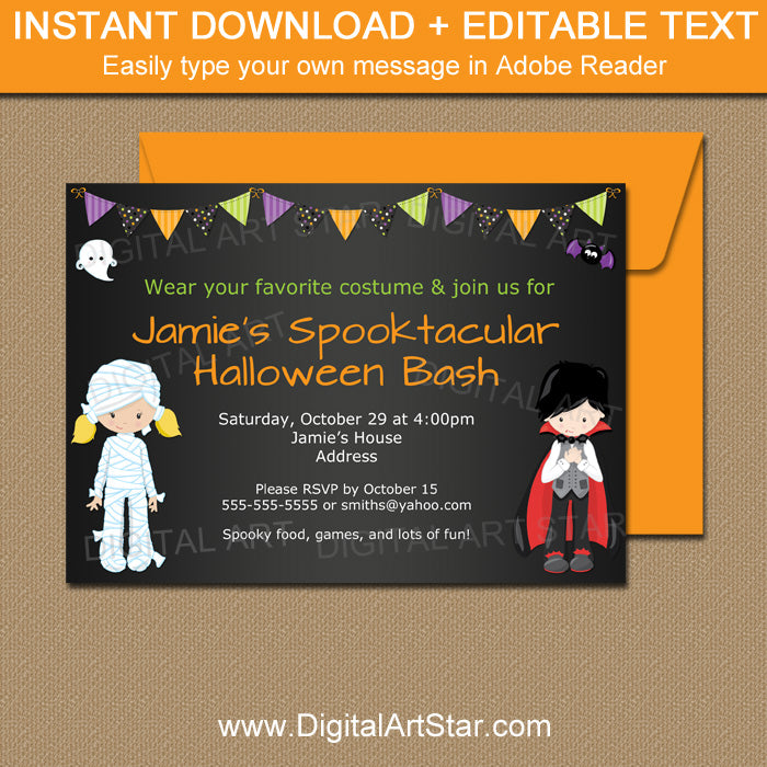 halloween party invitation with mummy and vampire