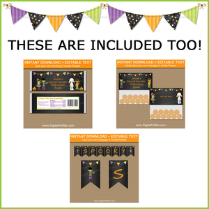 Editable Halloween Candy Bar Wrappers, Bag Toppers, Printable Banner