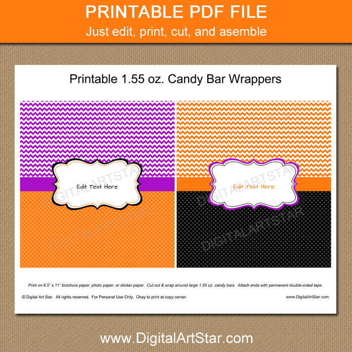 Printable Halloween Candy Wrapper Template Digital Art Star