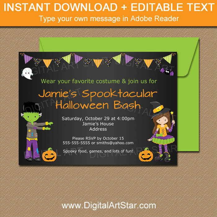 Editable Halloween Party Invitation Template With Monster And Witch