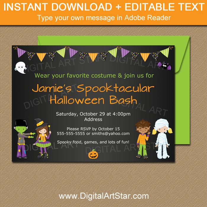 Chalkboard Halloween Invitation Printable