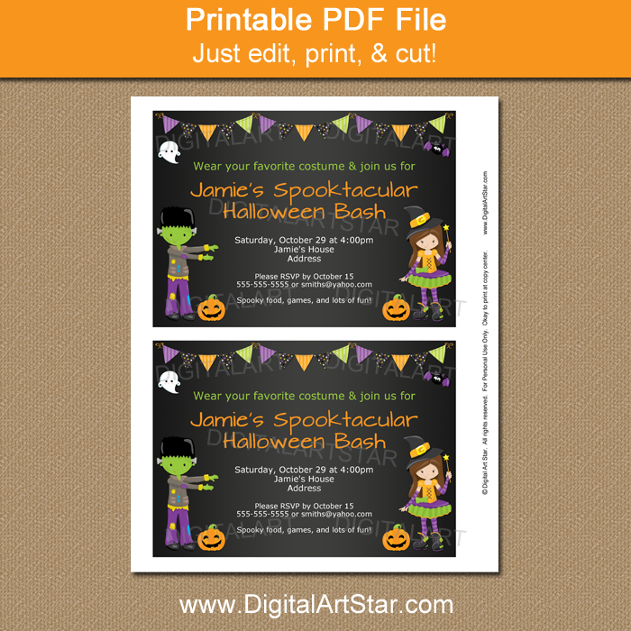 Chalkboard Halloween Party Invite by Digital Art Star