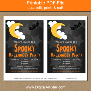 Printable Spooky Halloween Party Invites