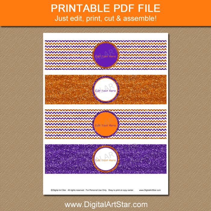 Orange Purple White Halloween Printable Water Bottle Labels