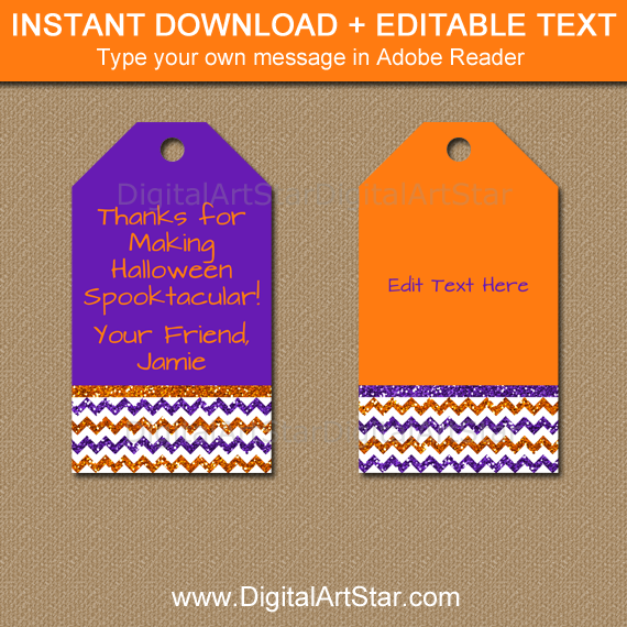 Halloween Thank You Tags - Orange and Purple Glitter