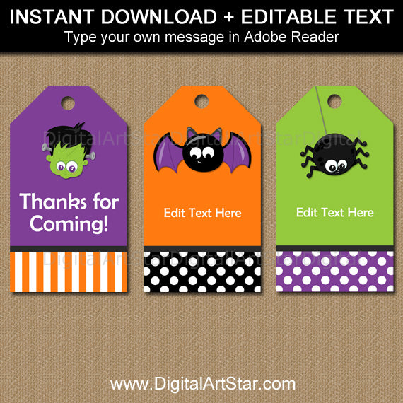 halloween hang tags with monster faces bat jackolantern spider digital art star. Black Bedroom Furniture Sets. Home Design Ideas