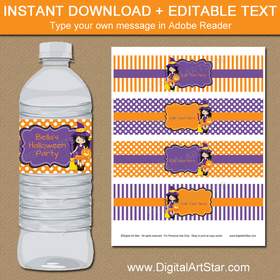 Girl Halloween Birthday Water Bottle Labels