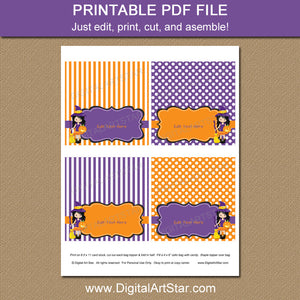 printable halloween treat bag topper template in orange and purple