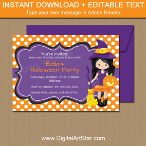 Downloadable Halloween Witch Invitations