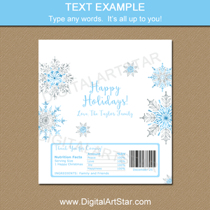 Happy Holiday Snowflake Chocolate Bar Wrappers with Snowflakes in Blue and Silver