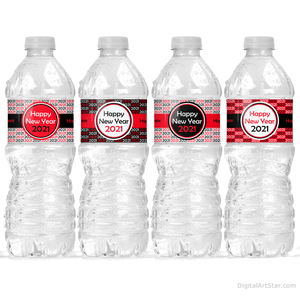 Happy New Year 2021 Printable Water Bottle Labels
