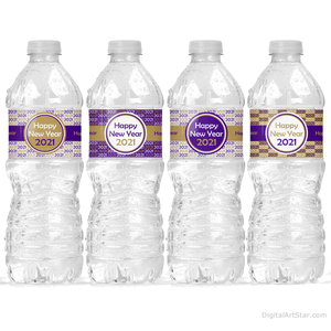 Happy New Year Water Bottle Decorations Purple and Gold