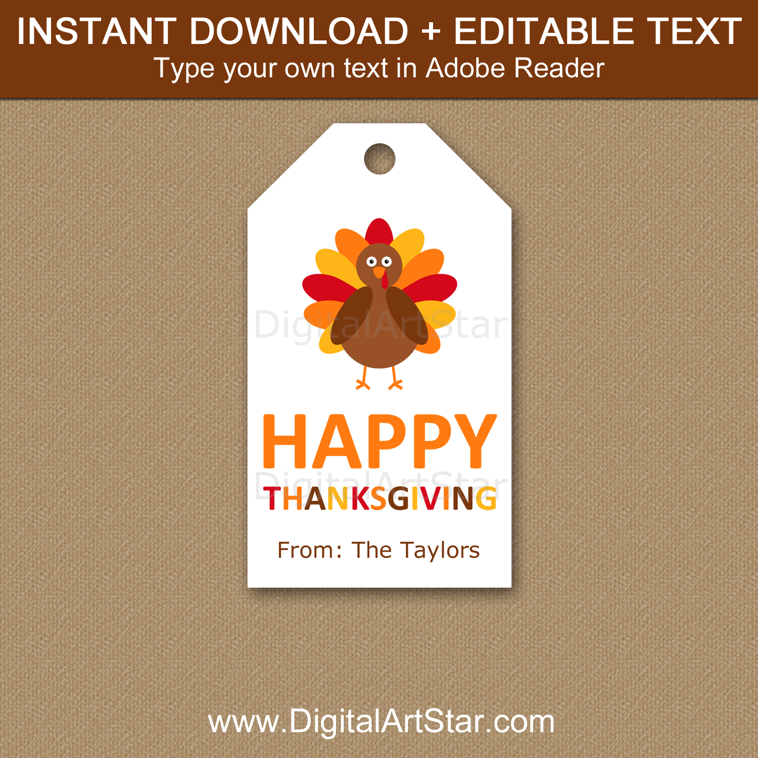 Happy Thanksgiving Favor Tags Instant Download Editable Template