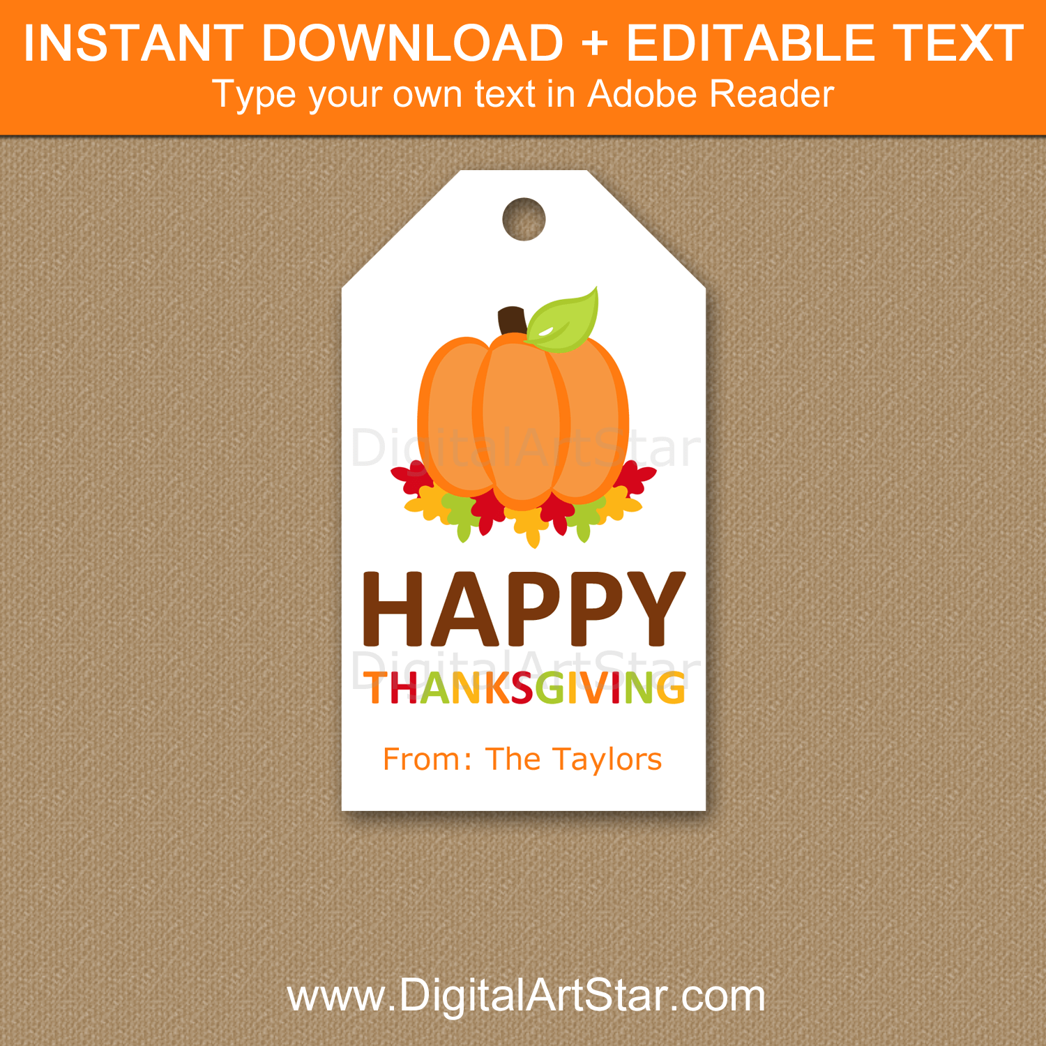 Happy Thanksgiving Printable Tags - Pumpkin and Autumn Leaves