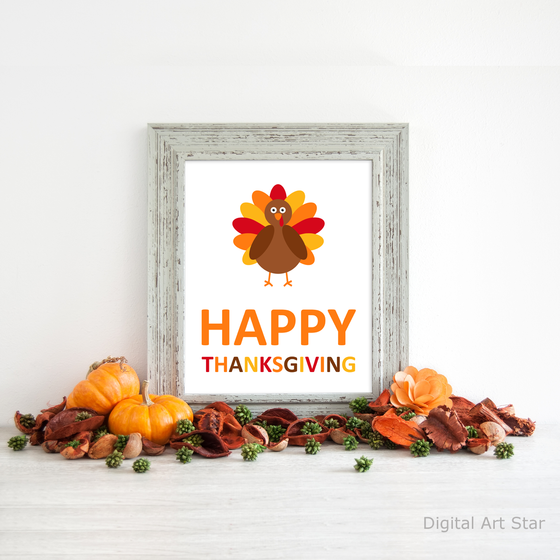 Happy Thanksgiving Printable Wall Art