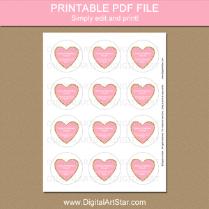 Heart Return Address Labels Pink Gold White
