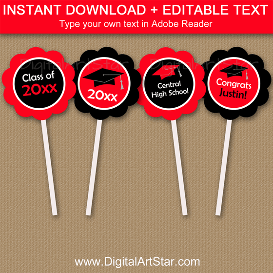 Editable Red and Black Graduation Cupcake Toppers
