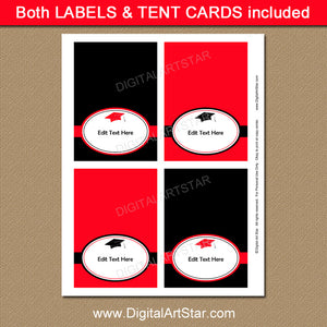 Graduation Tent Cards in Red and Black