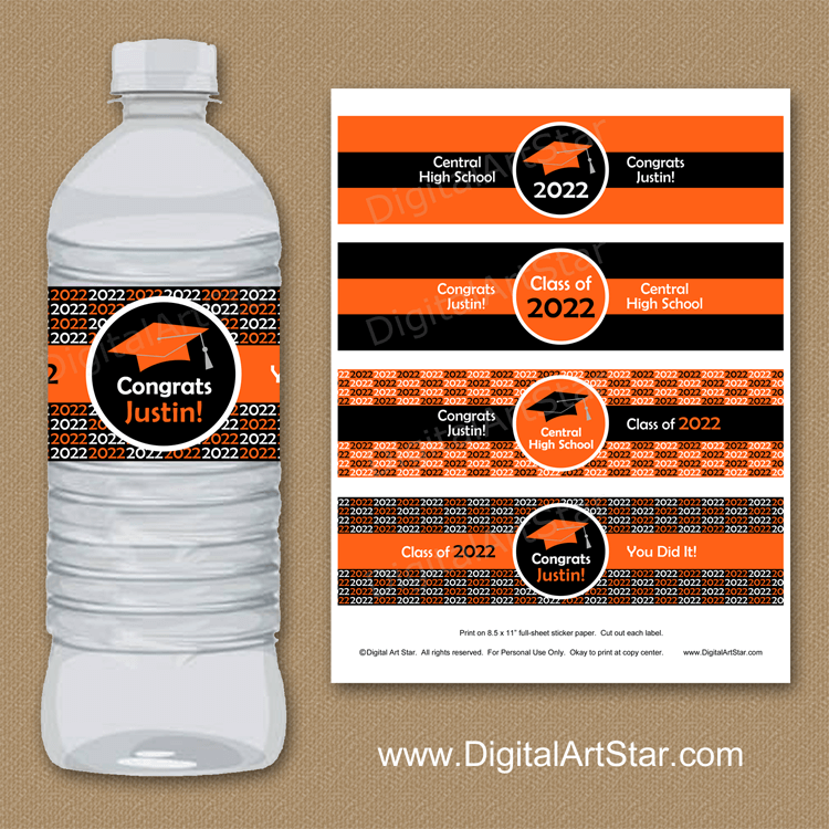 High School Graduation Water Bottle Labels in Orange and Black