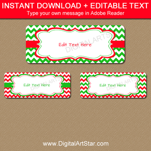 Holiday Address Labels Digital Download Red Green Chevron