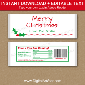 Holiday Candy Wrappers Editable Template Holly Design