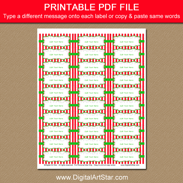 Printable Holiday Return Address Label Template