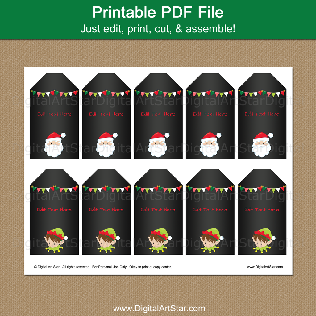 printable holiday santa tags