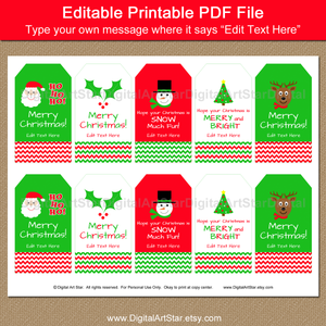 cute editable holiday gift tags by Digital Art Star