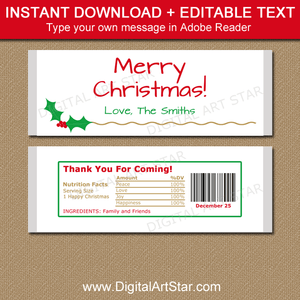Holly Gold Christmas Candy Bar Wrappers Instant Download