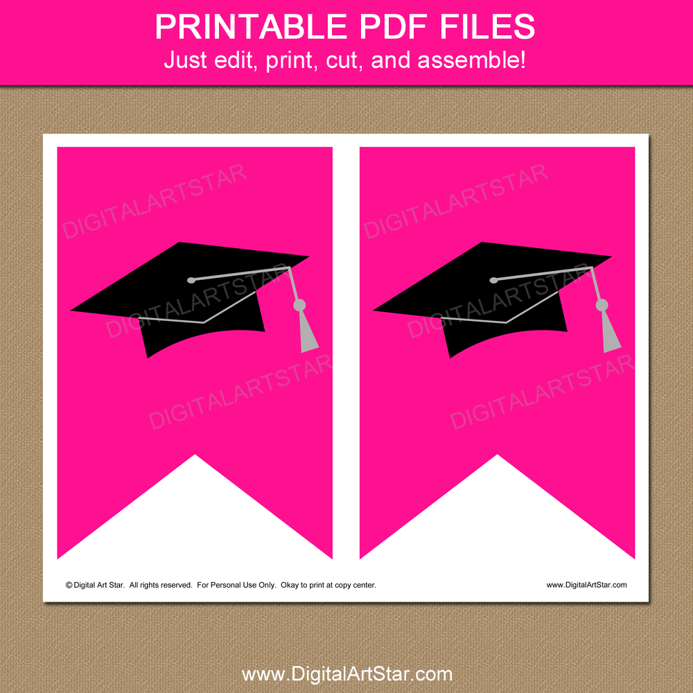 Printable Graduation Banner Hot Pink