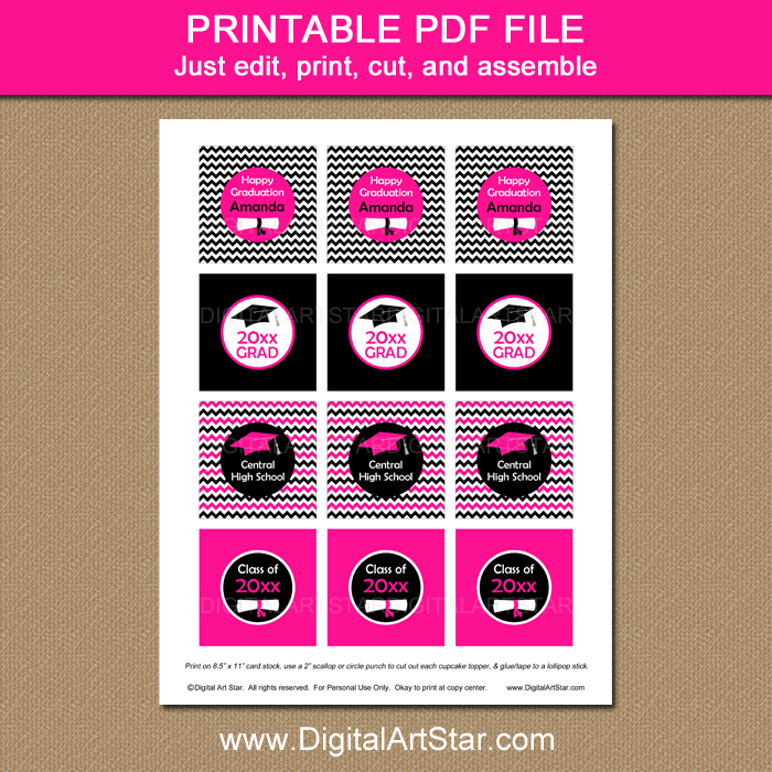 Printable Hot Pink Cupcake Toppers Digital Download