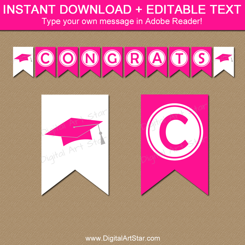 Hot Pink Graduation Decorations - Printable Banner