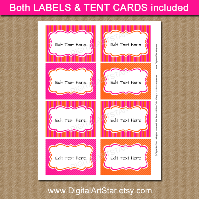 Hot Pink and Orange Candy Buffet Labels for Baby Shower, Birthdays, Bridal Shower