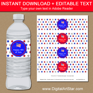 Instant Download 4th of July Water Bottle Labels Template