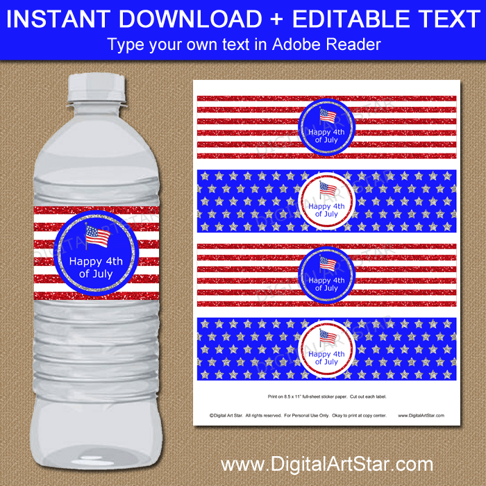 Instant Download 4th of July Water Bottle Decorations