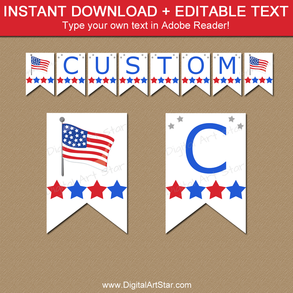 Instant Download American Flag Banner Template