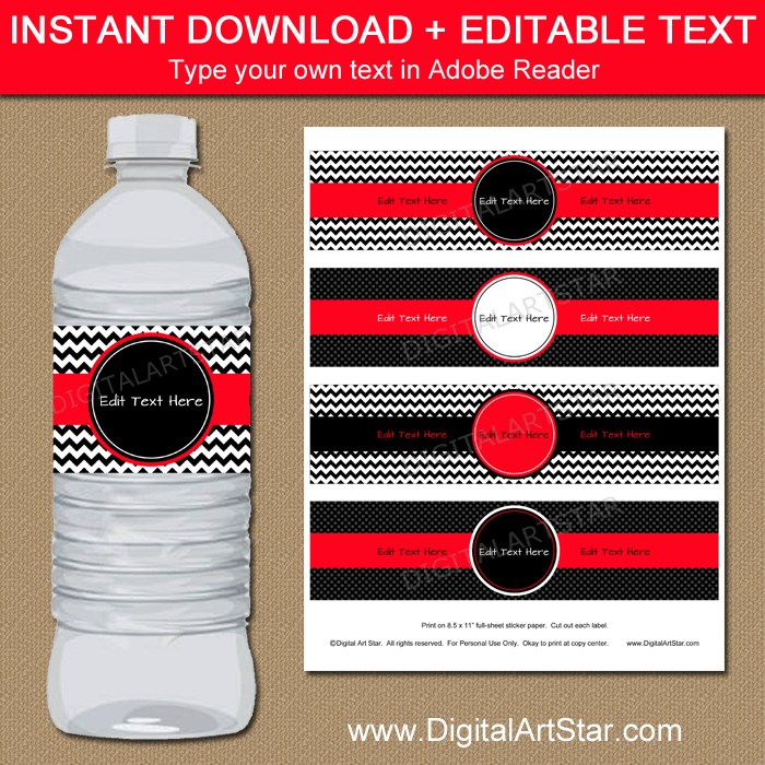 Instant Download Black Red Water Bottle Labels