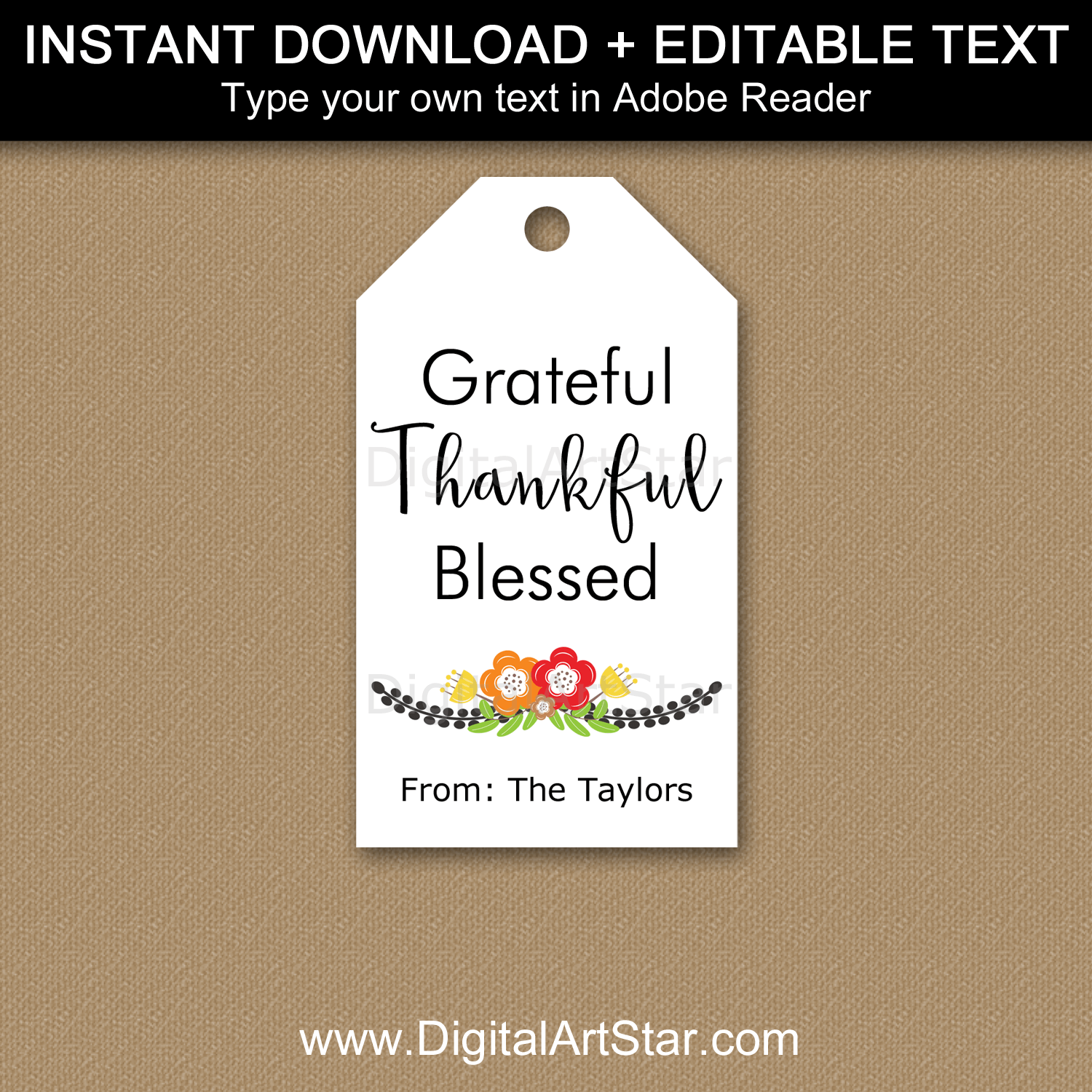 Instant Download Black White Tags Grateful Thankful Blessed