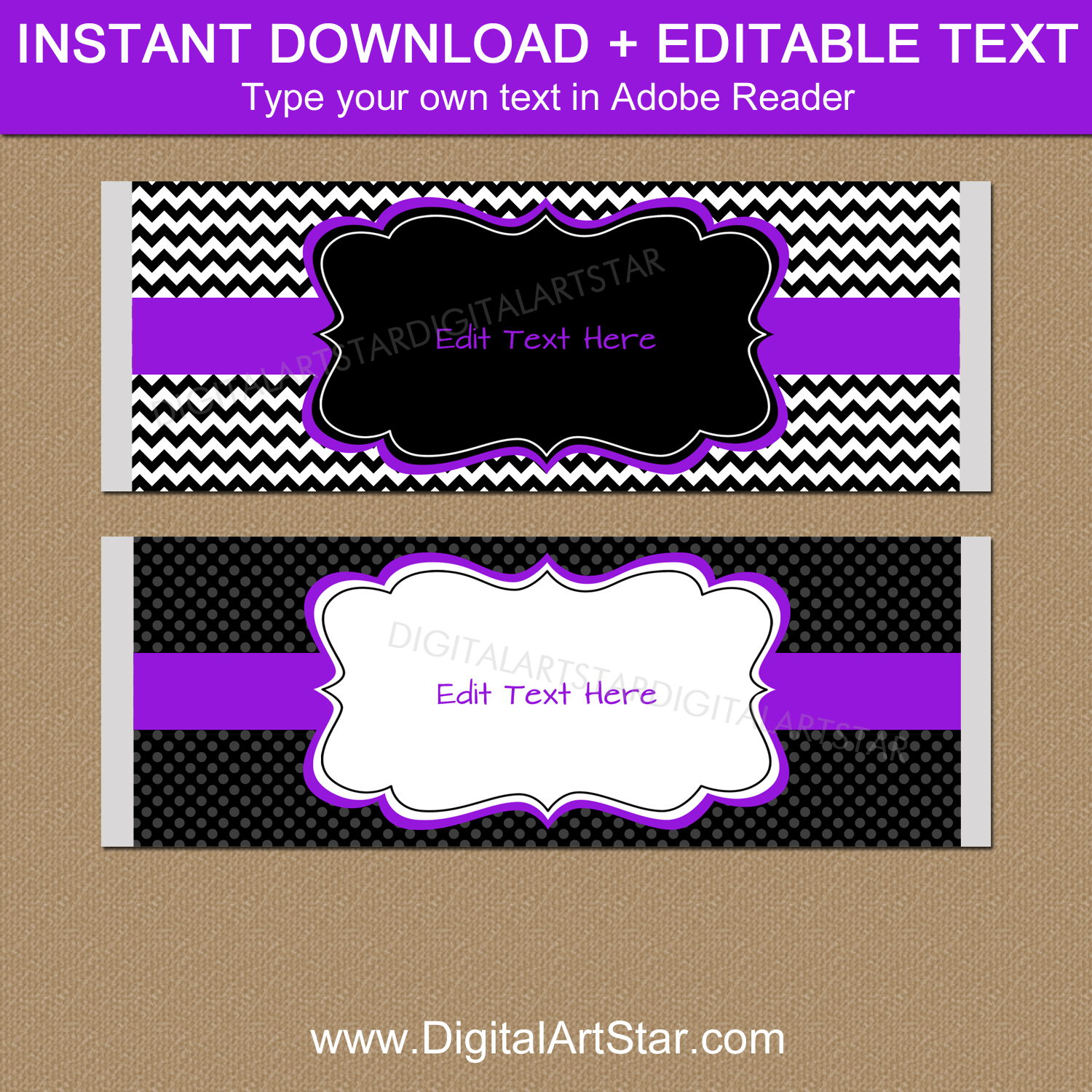 Instant Download Candy Bar Wrappers Purple Black White