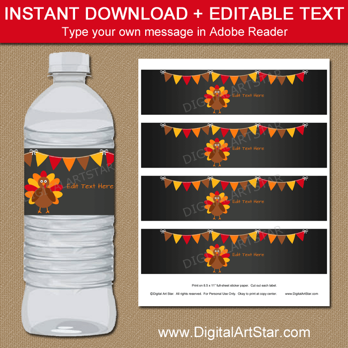 Instant Download Chalkboard Thanksgiving Water Bottle Labels Template
