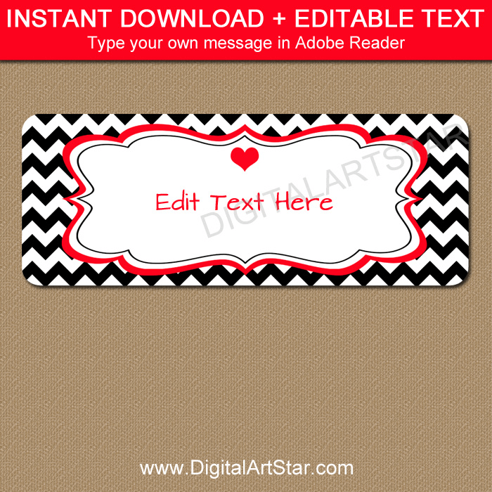 Instant Download Editable Valentine Address Label Template